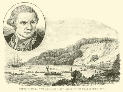 Captain Cook, the Discovery and Resolute in Kealakakua Bay