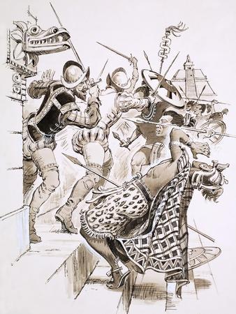 Hernando Cortes and His Soldiers Resist Aztec Attacks