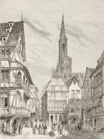 Nineteenth Century View of Old Houses in Strasbourg, France