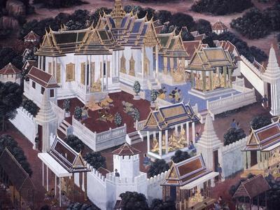 Thailand, Bangkok, Mural Painting from Wat Phra Kaew Temple