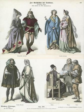 Burgundian and German Costumes, First Half of 15th Century
