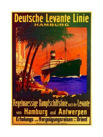 Poster Advertising the German Levantine Line, 1907