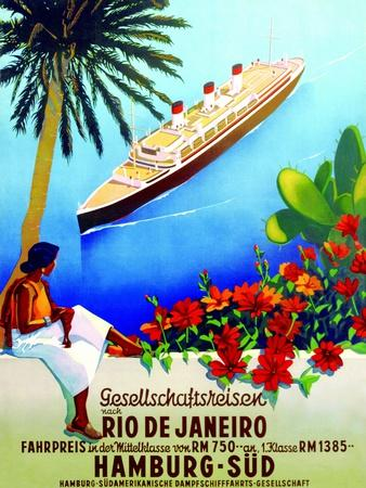 To Rio De Janeiro', Poster Advertising the Hamburg Southern Line, 1929