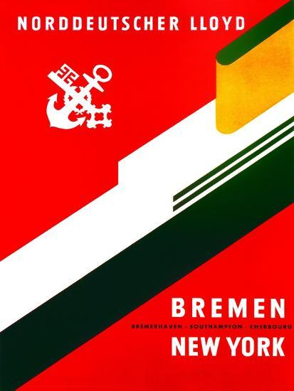 Bremen - New York', Poster Advertising the North German ...