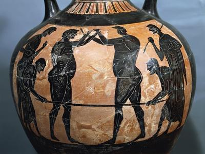 Panathenaic Black-Figure Amphora, from a Tomb of a Great Athlete
