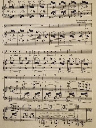 Sheet Music of Page from Act I of La Wally, Opera by Alfredo Catalani