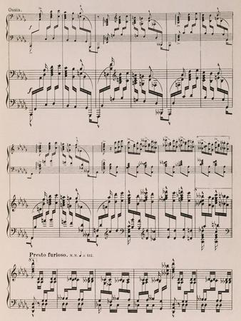 Music Score from Islamey, Op 18, Composition for Piano by Mily Balakirev