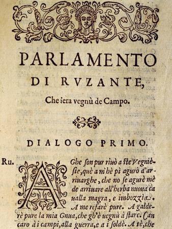 Il Parlamento De Ruzante, in Dialect, by Angelo Beolco known as Ruzzante