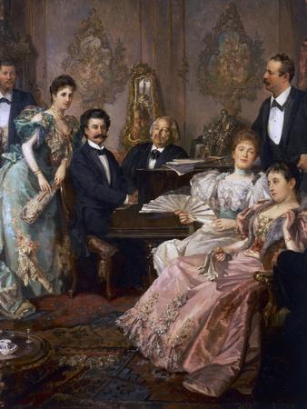 Evening with Johann Strauss, 1894, Painting by Franz Von Bayros