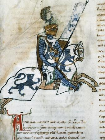 Armed Knight, Miniature from the Genoese Civic Annals, by Caffaro