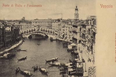 Postcard Depicting an Aerial View of the Rialto Bridge