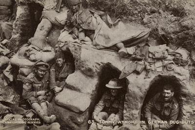 British Soldiers Sheltering in Captured German Dugouts, World War I