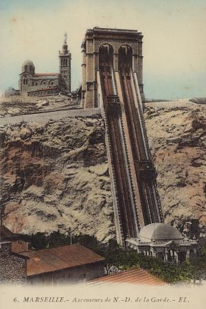 Postcard Depicting the Lift to Notre-Dame De La Garde