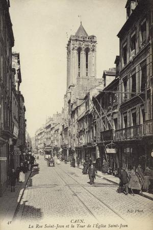 Postcard Depicting La Rue Saint-Jean and the Tour De L'Eglise Saint-Jean
