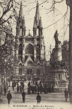 Postcard Depicting the Eglise Des Reformes and the Monument Des Mobiles