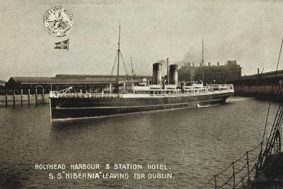 "Holyhead Harbour and Station Hotel, SS ""Hibernia"" Leaving for Dublin"