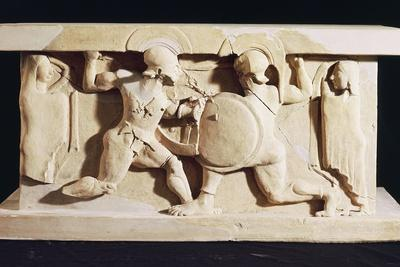 Fight Between Achilles and Memnon Assisted by their Mothers, Clay Arula