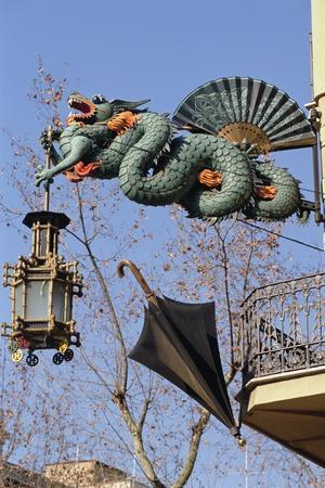 Chinese Dragon, Lantern and Umbrella on a Street Corner