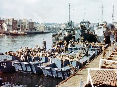 Boats and Ships Waiting in a Port at Weymouth, Southern England, June 1944