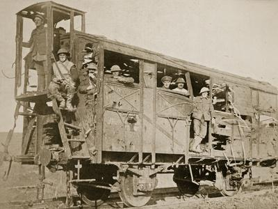 A Scene on the Ancre - Captured Enemy Rail Carriage, 1916