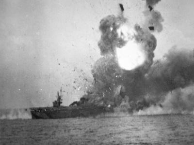 USS St. Lo Explodes, Battle of Leyte Gulf, October 1944