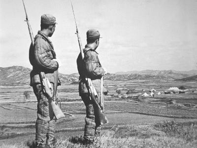 Two North Korean Soldiers Patrol Neutral Zone around Panmunjom