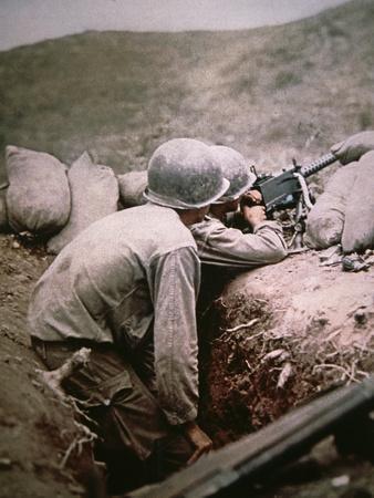 American Browning .50 Caliber Machine Gun Crew in Action, Italy
