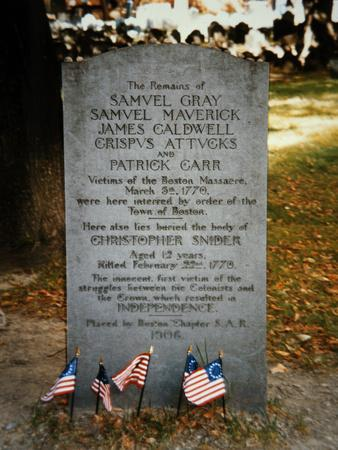 Grave Stone of the Victims of the Boston Massacre, Placed 1906