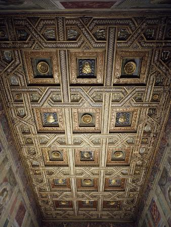 Coffered Ceiling, by Gasparo Amigoni, Hall of Horses in Palazzo Te, Mantua