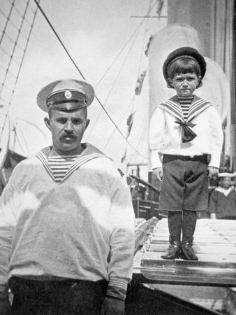 Tsarevitch Alexei with His Personal Bodyguard, the Sailor Derevenko