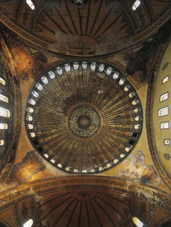 Interior View of Dome, Hagia Sophia, Historic Areas of Istanbul