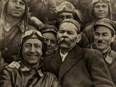 Maxim Gorky, Russian Writer, with Soviet Air Force Pilots