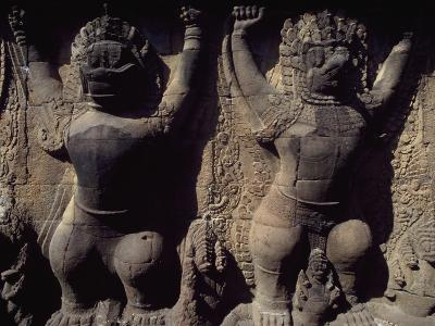 Cambodia, Angkor Thom, Relief with Two Garuda in Terrace of Elephants