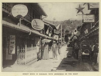 Street Scene in Nagasaki, with Jinrikishas on the Right