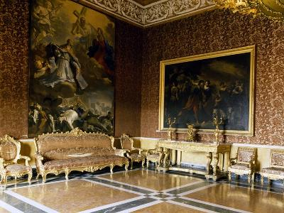 Hall with Baroque Furniture, Interior of Royal Palace of Naples