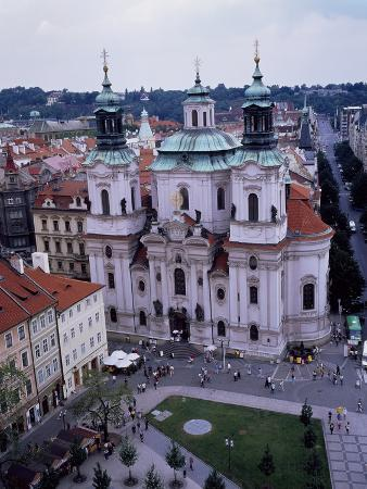 St. Nicolas' Church, Completed in 1737, Seen from Town Hall Tower, Prague