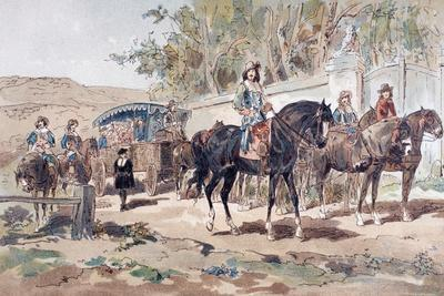 A Horse Drawn Public Diligence, or Coach, of the 17th Century with Mounted Escort, 1886