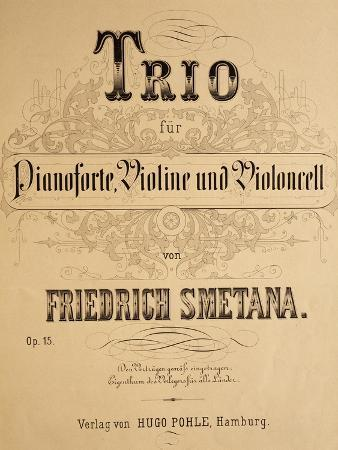 Title Page of Score for Trio for Piano, Violin and Cello, Opus 15