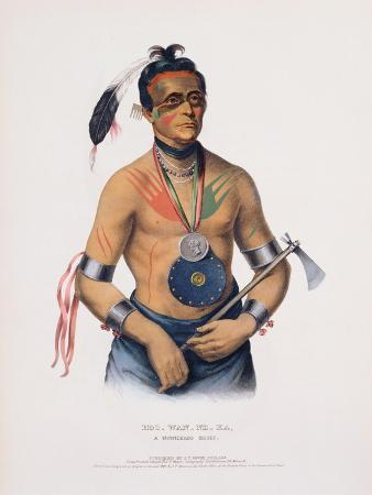 Hoo-Wan-Ne-Ka, Illustration from 'The Indian Tribes of North America'