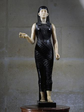 Front View of Statue of Isis in Black Marble and Alabaster
