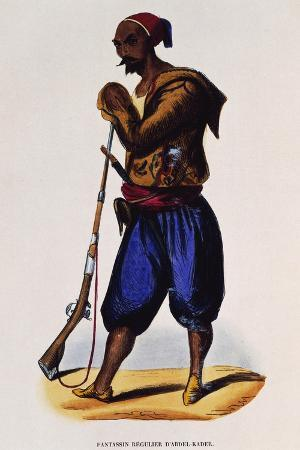 Abd-El-Kader Infantryman, Engraving from Dresses and Costumes of All People around World , 1843