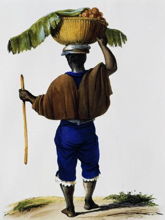 Fruit Vendor in Lima, Peru, Lithograph from Voyage around World on Frigate La Venus from 1836-39
