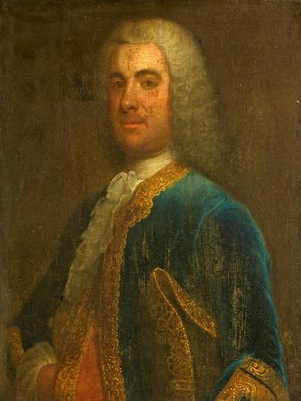 Portrait of a Man in a Grey Wig and a Blue Velvet Gold-Braided Jacket, Carrying a Tricorne Hat