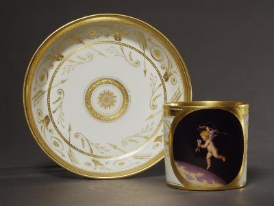 Cup and Plate Decorated with Plant Motifs and Image of Cupid