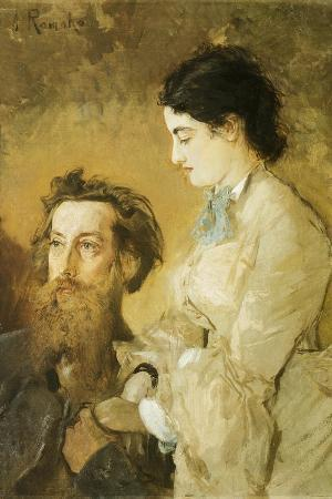 Portrait of Sculptor Reinhold Begas with His Wife, 1869-1870