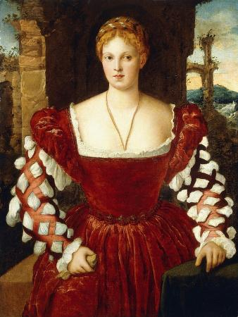 Portrait of a Lady, Standing Three-Quarter Length, Wearing a Red Velvet Dress