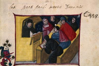 The Writer in the Pulpit with Six Disciples, Miniature from the Summa Casuum Conscientiae