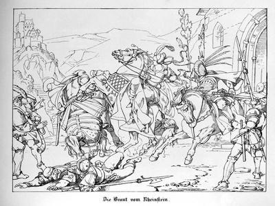 The Betrothed of Rheinstein Flees from the Forced Marriage, Engraved by J. Dielmann