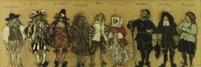 Study for Costumes for Nine Actors in 'La Coupe Enchantee' for Jean De La Fountaine