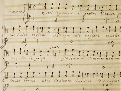 Music Sheet of the Winter, Serenade for Four Voices Dedicated to the Four Seasons, 1720